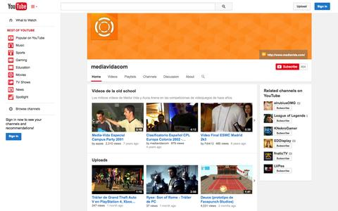 Screenshot of YouTube Page youtube.com - mediavidacom  - YouTube - captured Oct. 27, 2014