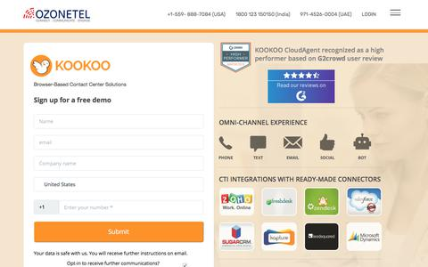 Screenshot of Signup Page ozonetel.com - Cloud Communication Solutions demo, Call Center Software demo-Ozonetel - captured Nov. 17, 2019