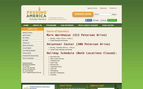 Screenshot of Hours Page feedingamericaky.org - Hours of Operation - captured Oct. 5, 2014