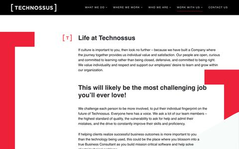 Screenshot of Jobs Page technossus.com - Careers – TECHNOSSUS | Cloud Strategy & Transformation | Platform Optimization | Digital Orchestration - captured Feb. 15, 2019
