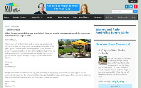 Screenshot of Testimonials Page mjjsales.com - Patio Umbrellas Market Umbrellas - Testimonials | MJJSales.com - captured July 4, 2016