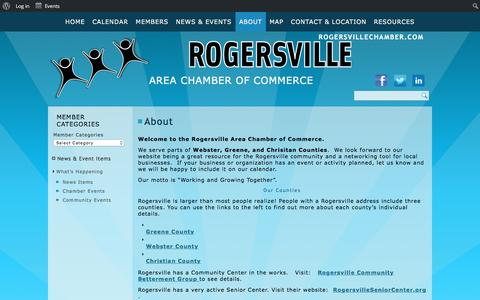 Screenshot of About Page rogersvillechamber.com - Rogersville Area Chamber of Commerce - captured March 12, 2016