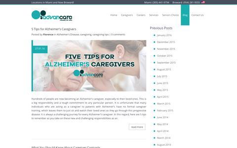 Screenshot of Blog advancare.net - Elder Care Blog - Home Health Care - Advancare   Home Care Agencies   In Home Senior Care   Advancare.net - captured Feb. 5, 2016