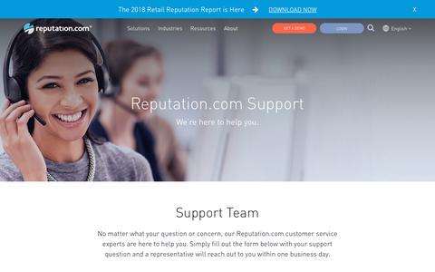 Screenshot of Support Page reputation.com - Online Reputation Help, Reputation.com for Business - captured Jan. 3, 2019