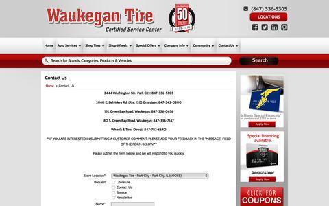 Screenshot of Contact Page waukegantire.com - Contact Us Waukegan Tire - captured Oct. 20, 2018