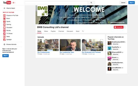 Screenshot of YouTube Page youtube.com - BWB Consulting Ltd's channel  - YouTube - captured Oct. 23, 2014