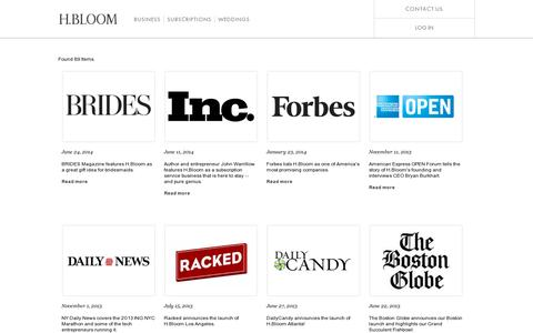 Screenshot of Press Page hbloom.com - H.BLOOM:  News Stories & Press - captured July 18, 2014
