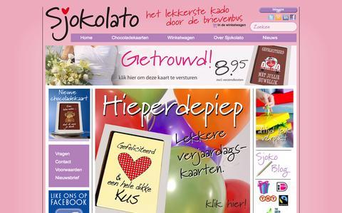 Screenshot of Home Page sjokolato.nl - Sjokolato Online chocolade cadeau bestellen / verrassing geschenk kaart - captured Oct. 4, 2014