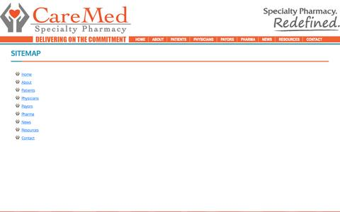 Screenshot of Site Map Page caremedps.com - CareMed Specialty Pharmacy - captured Oct. 22, 2014