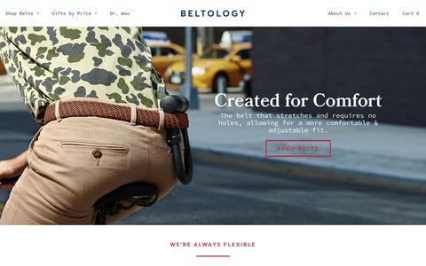 Screenshot of Home Page beltology.com - Beltology - Comfortable Men's Belts - captured Dec. 31, 2015