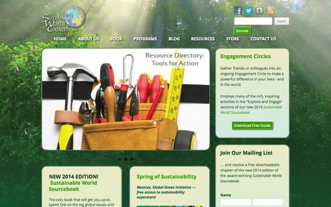 Screenshot of Home Page swcoalition.org - Home - Sustainable World Coalition - captured Oct. 7, 2014
