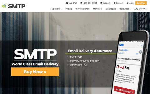 Screenshot of Home Page smtp.com - SMTP | World Class Email Delivery | SMTP.com - captured Oct. 26, 2017