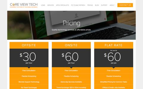 Screenshot of Pricing Page coreviewtech.com - Pricing — Core View Technologies - Baltimore, Maryland Computer Repair & Technology for Small Businesses - captured Sept. 30, 2014