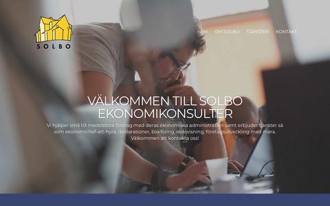 Screenshot of Home Page solbo.se - Redovisning, bokföring, företagsutveckling - Solbo ekonomikonsulter - captured Nov. 29, 2018