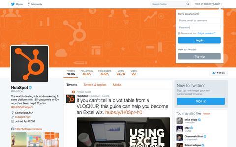 Screenshot of Twitter Page twitter.com - HubSpot (@HubSpot) | Twitter - captured June 28, 2016