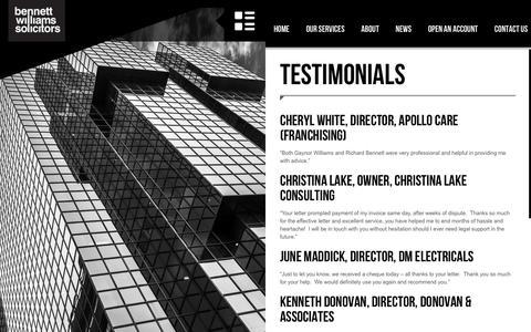 Screenshot of Testimonials Page bennettwilliamssolicitors.com - Testimonials - Bennett Williams Solicitors - captured Dec. 31, 2015