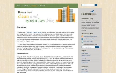 Screenshot of Services Page cleanandgreenlaw.com - Environmental Tax Credit & Financial Incentive Legal Services | Clean and Green Law Blog - captured March 30, 2016