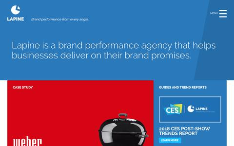 Screenshot of Home Page lapineinc.com - Lapine Inc. | Brand Performance Agency - captured Sept. 27, 2018