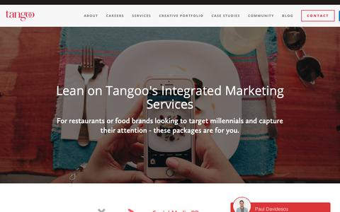 Screenshot of Services Page tangoo.ca - Marketing Services — Tangoo | Vancouver Restaurant Social Media, PR, Creative Marketing Agency - captured Oct. 20, 2018