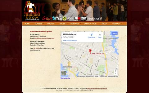 Screenshot of Contact Page Maps & Directions Page Hours Page mamboroomdance.com - Contact Mambo Room Latin Dance Studio Dance classes, Norfolk Virginia - captured Oct. 23, 2014
