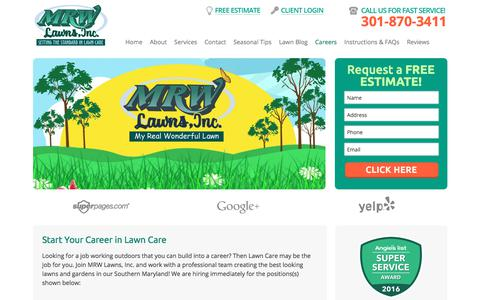 Screenshot of Jobs Page mrwlawns.com - Lawn Care Career In Maryland - Start Now - MRW Lawns - captured Sept. 23, 2017