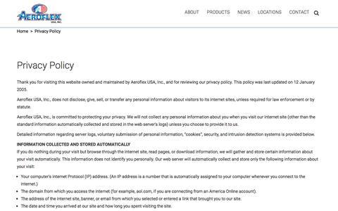Screenshot of Privacy Page aeroflexusa.com - Privacy Policy - Aeroflex USA Inc - captured Jan. 16, 2018