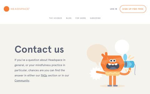 Screenshot of Contact Page headspace.com - Questions about Headspace - captured June 13, 2017