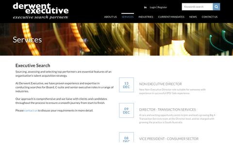 Screenshot of Services Page derwentexecutive.com.au - Executive Search  | Derwent Executive - captured Dec. 27, 2016