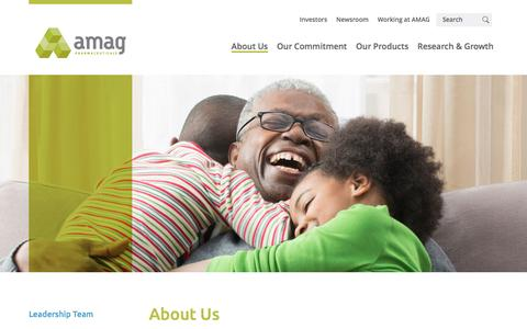 Screenshot of About Page amagpharma.com - About Us - AMAG Pharmaceuticals - captured July 15, 2016