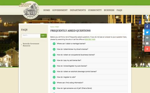 Screenshot of FAQ Page kentoncounty.org - Frequently Asked Questions - captured Nov. 27, 2016