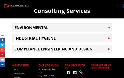 Screenshot of Services Page dunckleedunham.com - Services - Duncklee & Dunham - captured Nov. 14, 2018