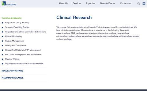 Screenshot of Services Page biomapas.eu - Clinical Research   Biomapas - captured Sept. 25, 2018