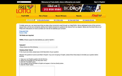 Screenshot of Contact Page freelotto.com - Contact FreeLotto - captured Sept. 19, 2014