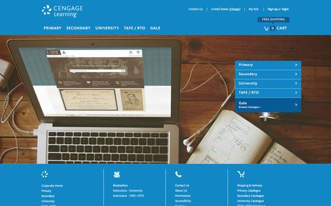 Screenshot of Home Page cengage.com.au - Cengage Learning | Publisher for the school and higher education markets for Australia and New Zealand - captured Jan. 25, 2016