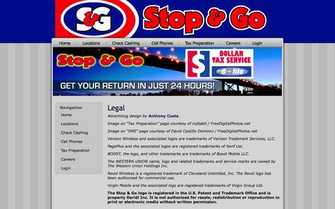 Screenshot of Terms Page stopandgostores.com - Legal | Stop & Go Stores Convenience Stores: Toledo, OH - captured Oct. 3, 2014