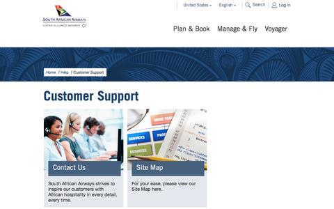 Screenshot of Support Page flysaa.com - Customer Support - South African Airways - captured Dec. 14, 2016