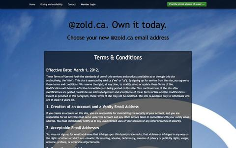 Screenshot of Terms Page zold.ca - @zold.ca. Own it today. - captured Oct. 7, 2014
