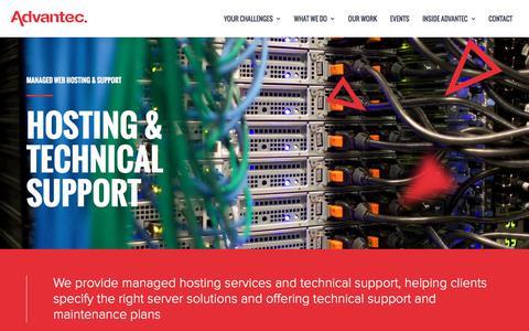 Screenshot of Support Page advantec.co.uk - Hosting & Technical Support for Ecommerce / Magento Websites - captured Sept. 22, 2017