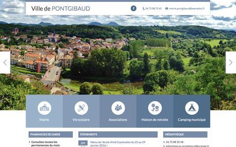 Screenshot of Home Page ville-pontgibaud.fr - Ville de Pontgibaud | Site internet officiel de la ville de Pontgibaud - captured Jan. 23, 2016