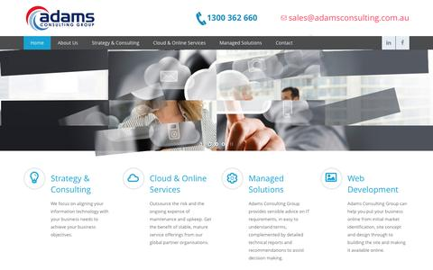 Screenshot of Home Page adamsconsulting.com.au - Adams Consulting Group - captured Feb. 5, 2016