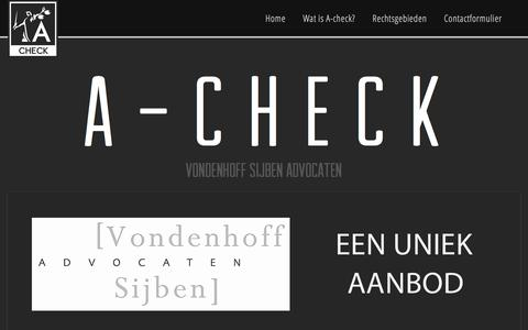 Screenshot of Home Page a-check.nl - A-check Vondenhoff Sijben Advocaten - captured March 17, 2016