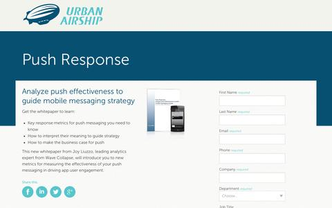 Screenshot of Landing Page urbanairship.com - Push Response: Analyze push effectiveness to guide mobile messaging strategy - captured Oct. 27, 2014