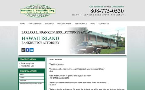 Screenshot of Testimonials Page island-law.com - Testimonials | Barbara L. Franklin, Esq. Attorney at Law | Honokaa Hawaii - captured Oct. 5, 2014