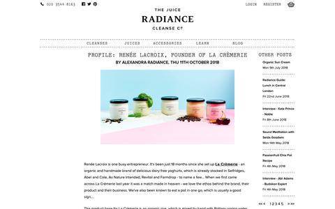Screenshot of Blog radiancecleanse.com - Radiance Cleanse | Profile: Renée Lacroix, founder of La Crèmerie - captured Nov. 6, 2018