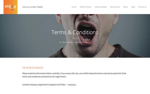 Screenshot of Terms Page eldraw.co.uk - Terms and Conditions | elDRAW - captured Sept. 30, 2018