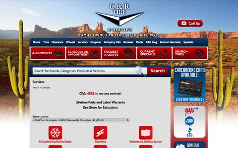Screenshot of Services Page candrtire.com - Services C & R Tire - Phoenix, AZ - captured Oct. 1, 2014