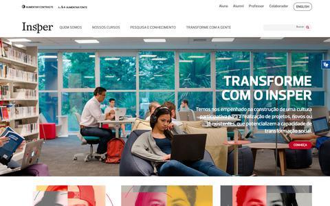 Screenshot of Home Page insper.edu.br - Insper: Ensino Superior em Negócios, Direito e Engenharia - captured Oct. 1, 2018