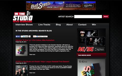 Screenshot of Blog inthestudio.net - Beard's Blog | In The Studio with Redbeard - captured Oct. 5, 2014