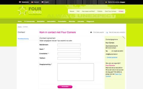 Screenshot of Contact Page fourcorners.nl - Direct contact met dé maker van hippe bedrijfsfilms, commercials en animaties / Four Corners - captured Oct. 6, 2014
