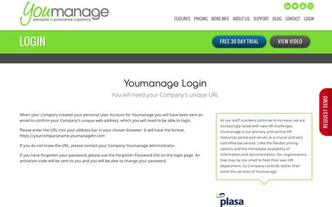 Screenshot of Login Page youmanage.co.uk - Youmanage Login - captured Dec. 11, 2016